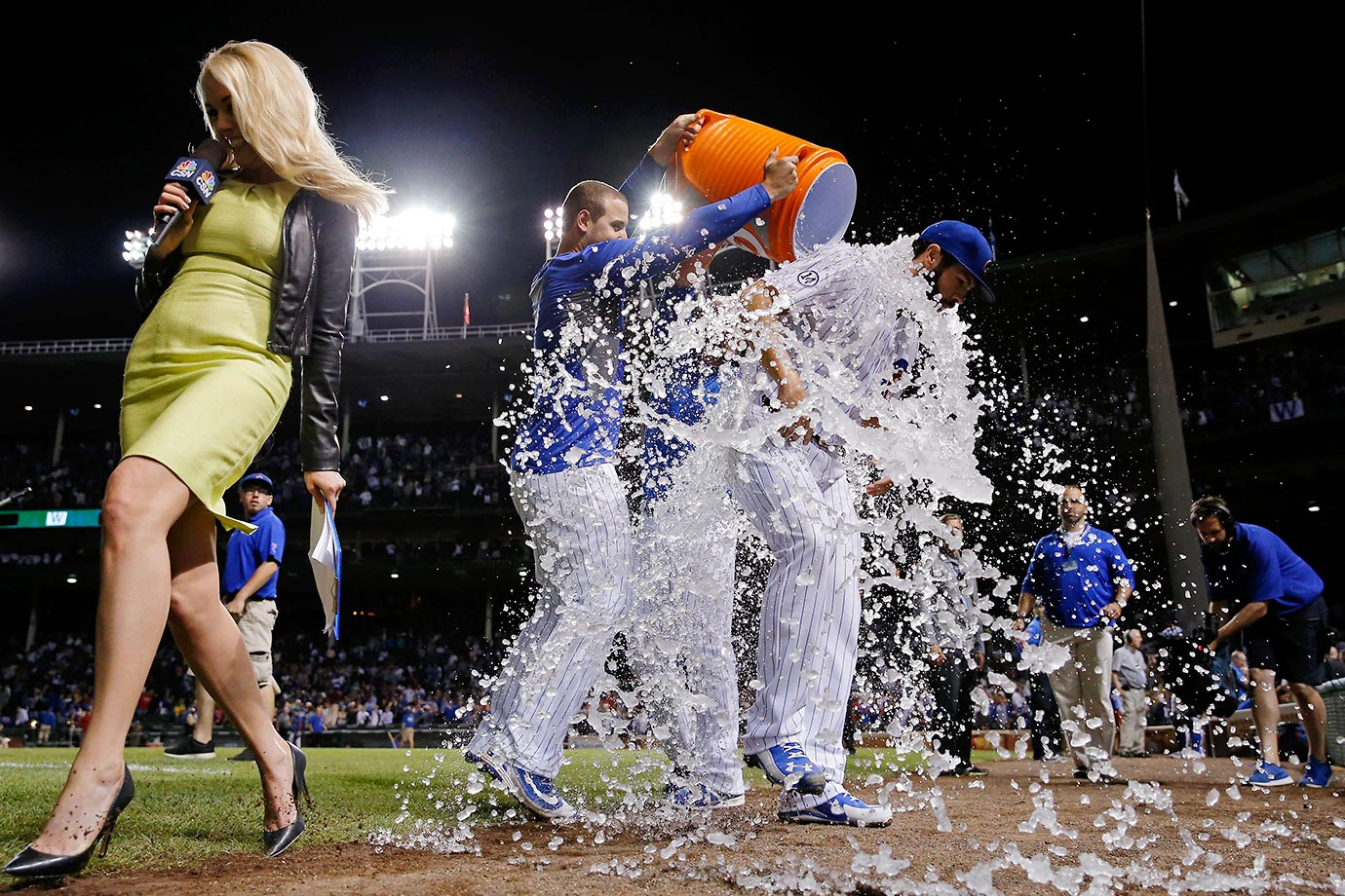 Jake Arrieta of the Cubs is doused after his 20th win of the season.