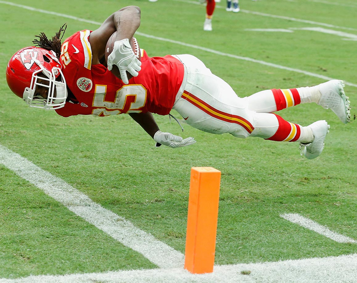 In his 100 games as a Kansas City Chief, Jamaal Charles has 42 rushing scores, 20 via reception, one two-point conversion and a 97-yard kickoff return score, in 2009.