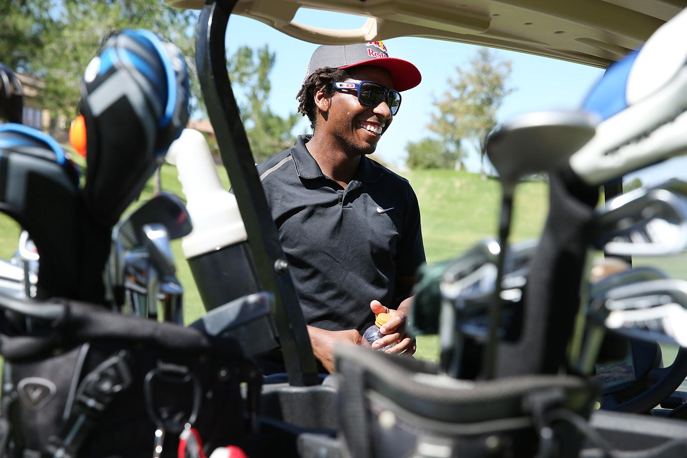 James Stewart is an avid golfer in his spare time, and gets in a round of golf whenever he can when he's not riding or training.