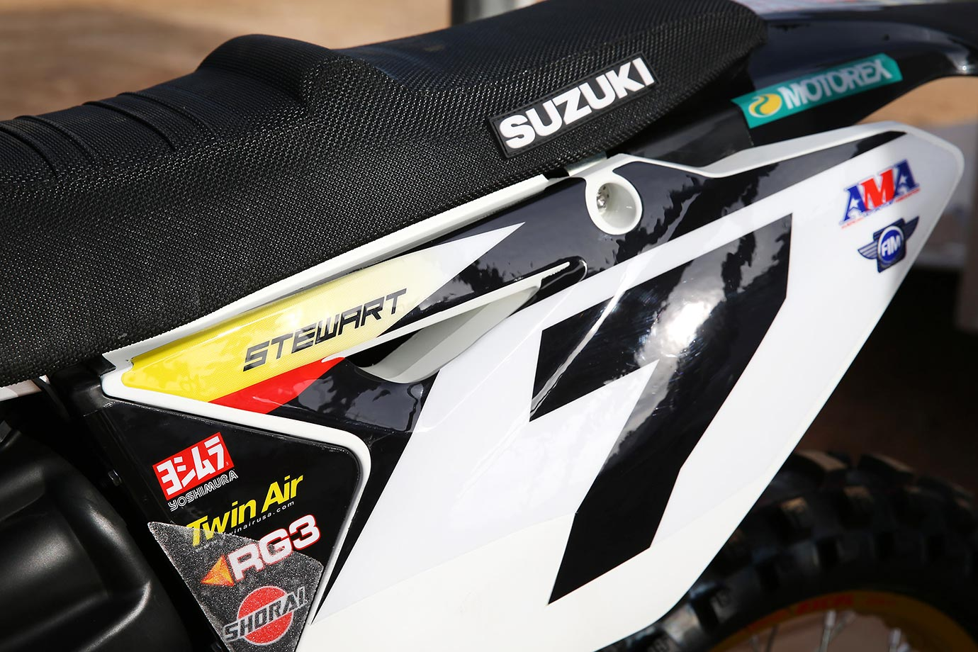 Detail shot of Supercross rider James Stewart's Suzuki racing bike.