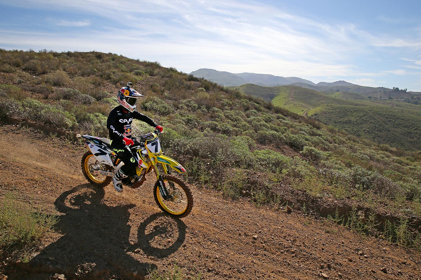 James Stewart rides down the moutain side in southern California.