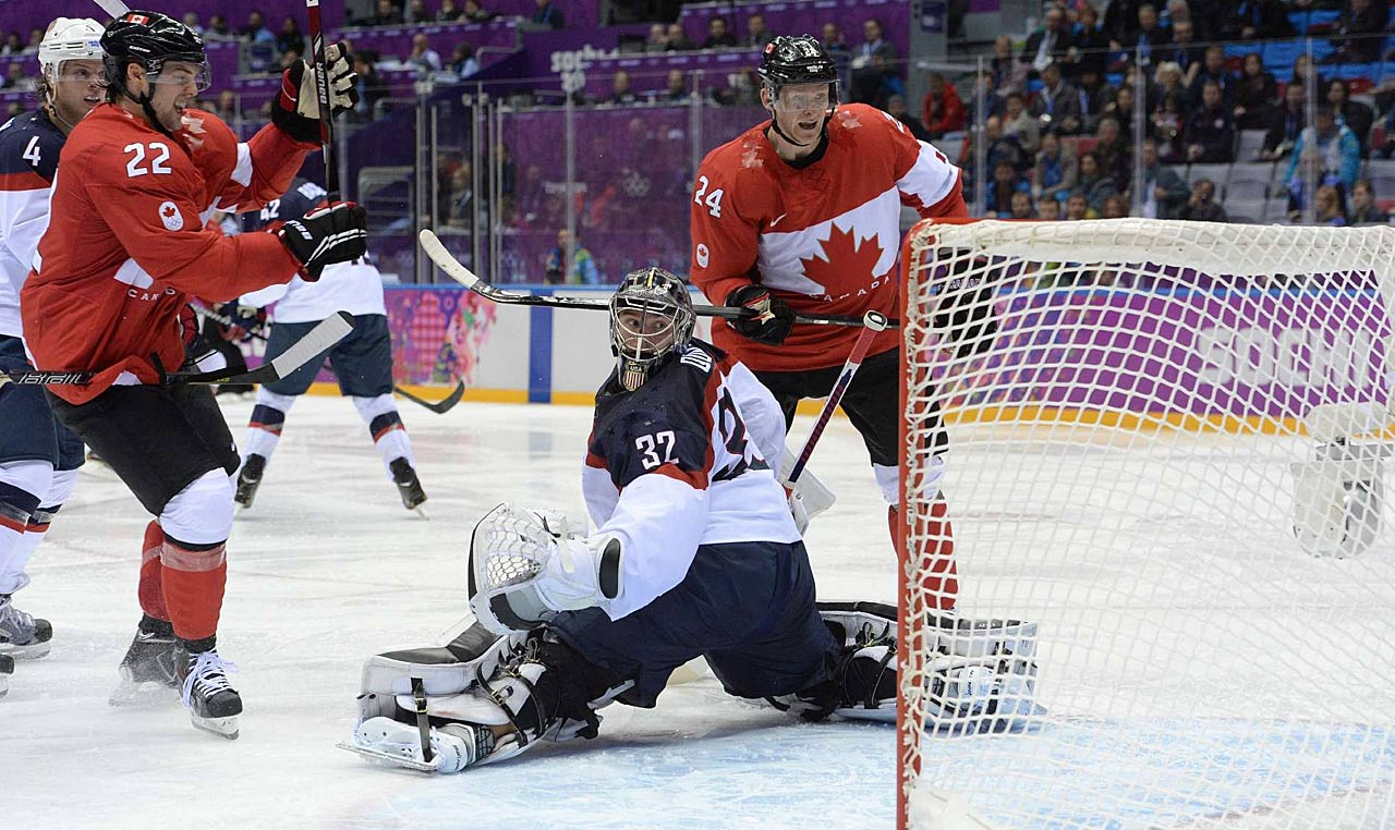 U.S. goalie Johnathan Quick turns to see if a shot by Jamie Benn finds its home. Benn's second-period score gave Canada a 1-0 lead, the only point scored in the semifinal game.