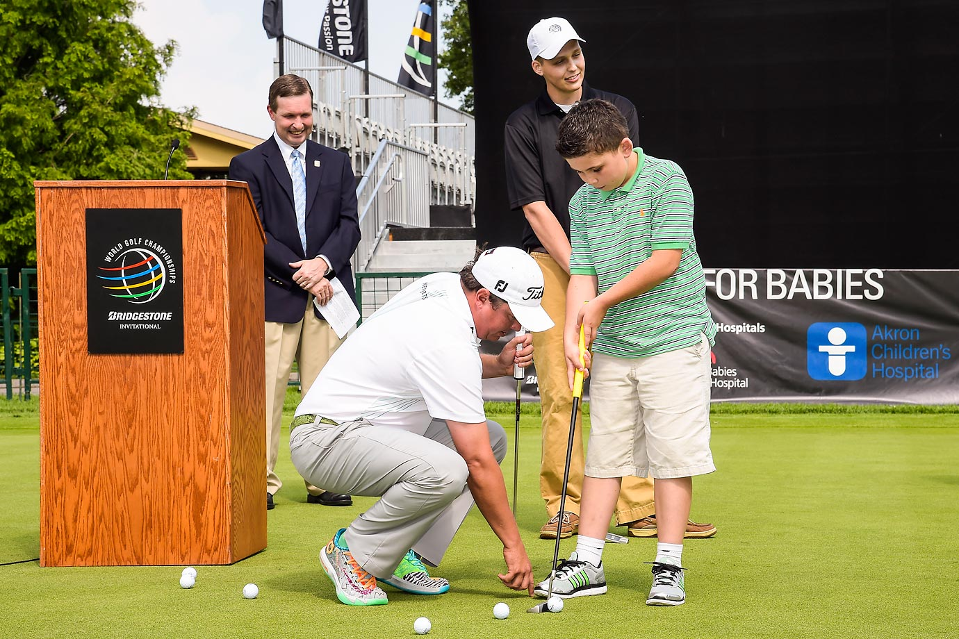 Golfer Jason Dufner participates in a press conference announcing Akron Children's Hospital and University Hospitals Rainbow Babies & Children's Hospital as beneficiaries of the World Golf Championships-Bridgestone Invitational.