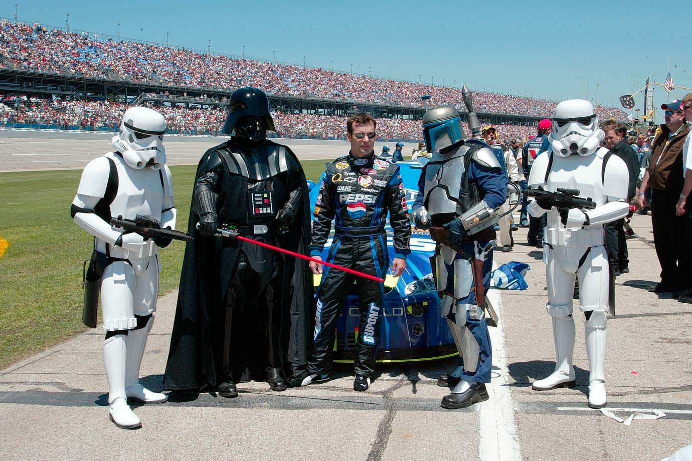 Jeff Gordon poses with Darth Vader, Jango Fett, and stormtroopers prior to the Aaron's 499 on May 1, 2005 at Talladega Superspeedway in Alabama.