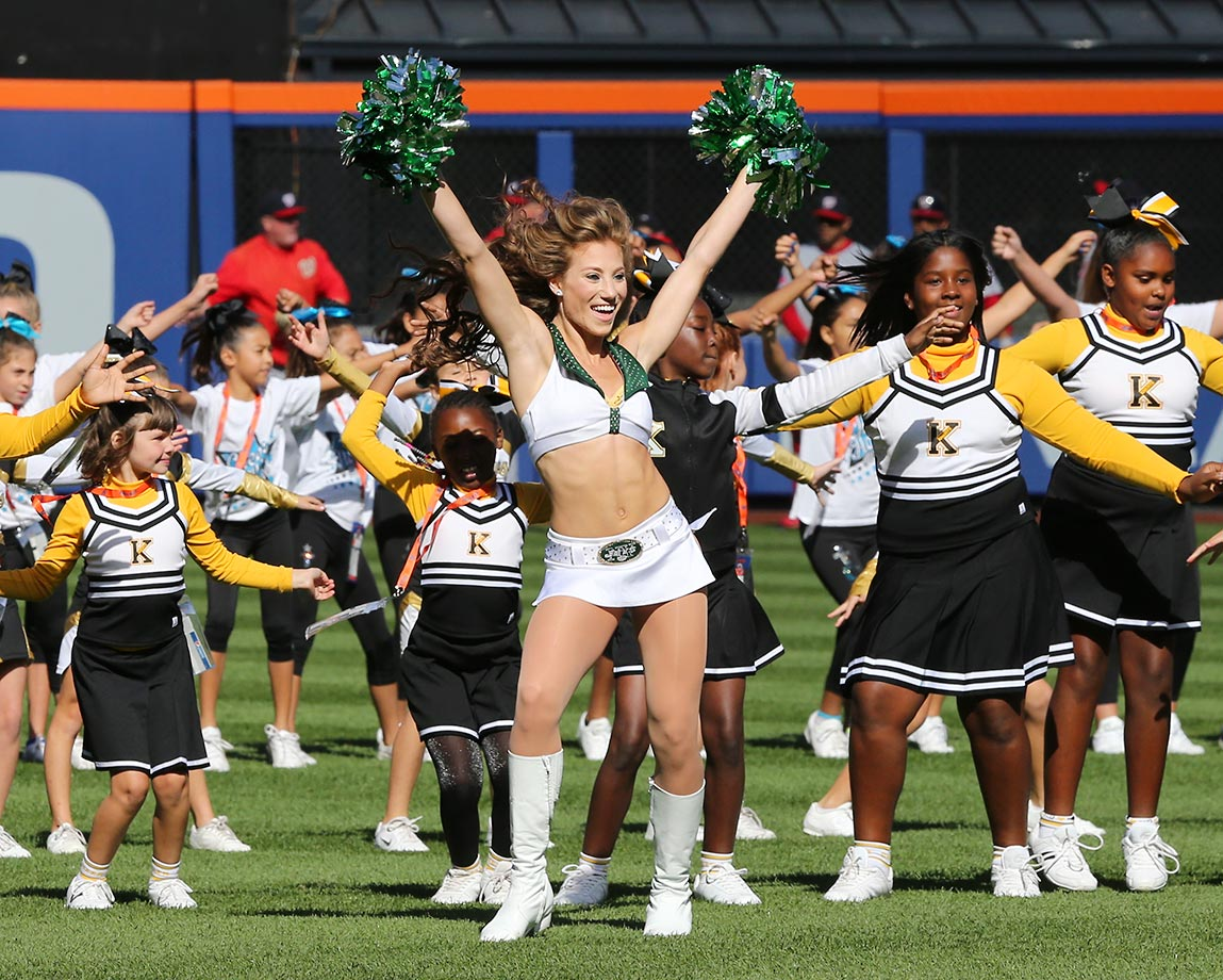 Jets cheerleaders at a Mets game during a special event involving young cheerleaders from the New York, New Jersey area.