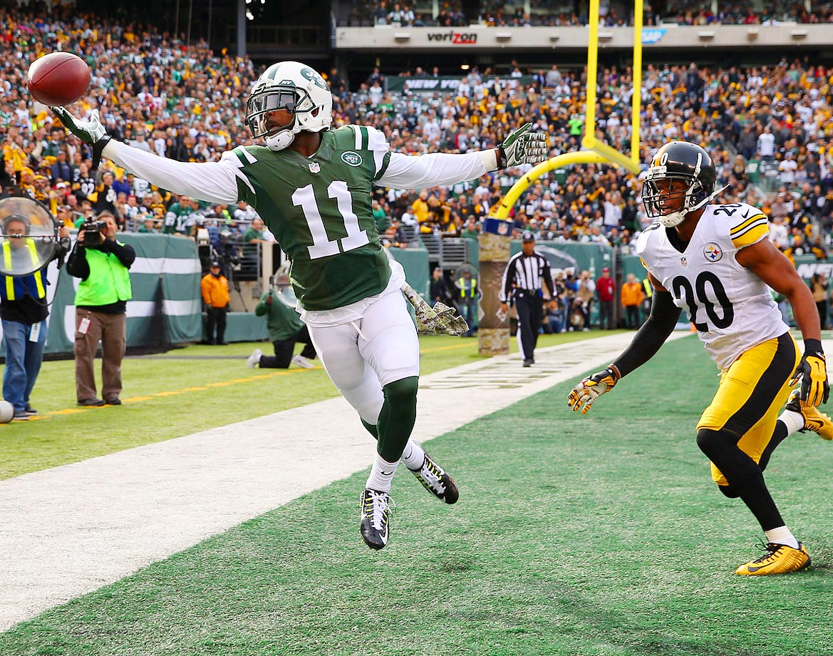New York Jets wide receiver Jeremy Kerley misses a pass in the end zone. The Jets won 20-13 at home to the Pittsburgh Steelers.
