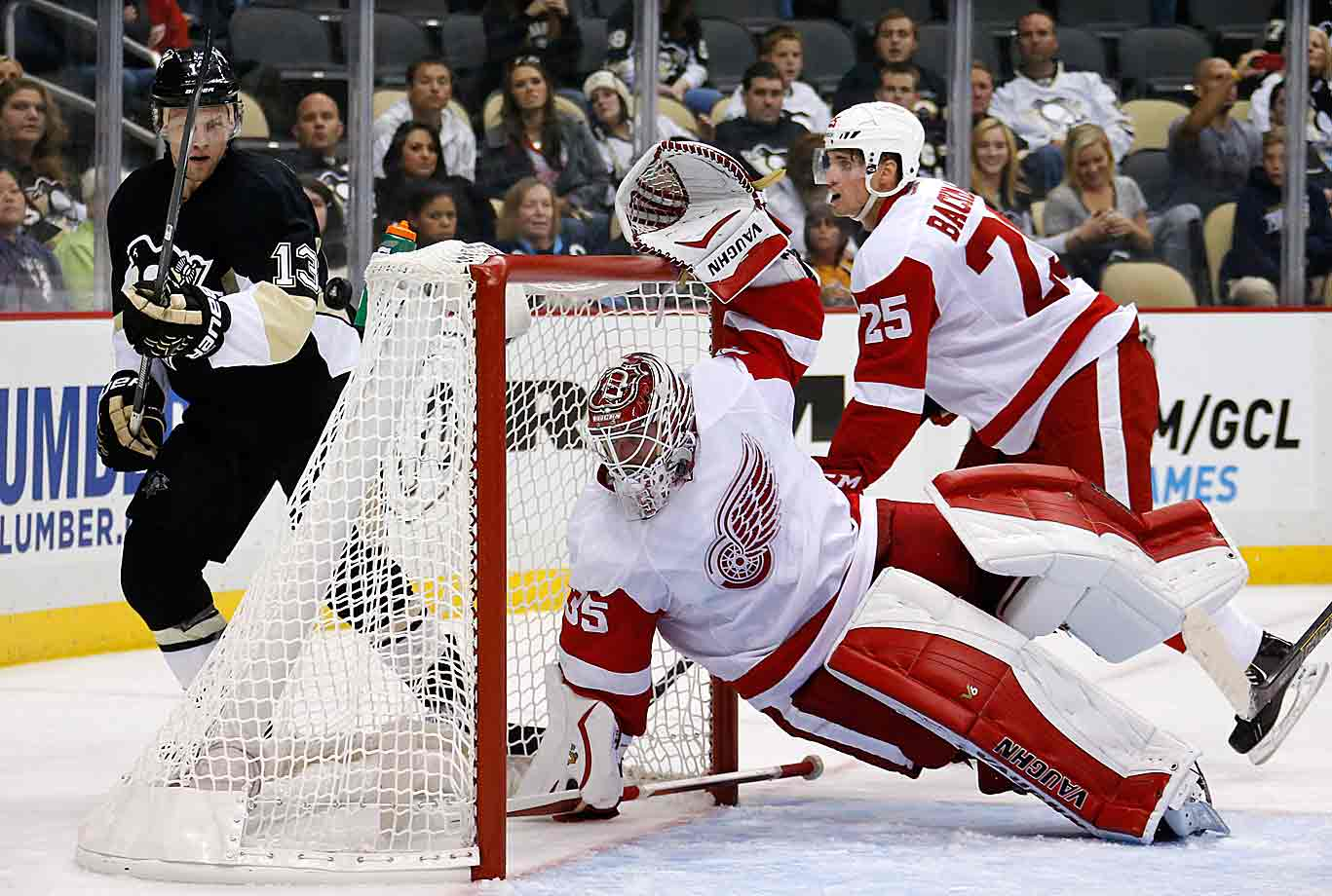 """After a season that saw his numbers (2.66 GAA, .910 save pct.) go skyward from his previous two campaigns, Howard, 30, is out to prove that he's a true franchise stopper. Granted, the injuries that ravaged the Red Wings made his job more difficult, but his inconsistency was a factor, too. With Detroit in flux but still counting on its brittle, aging stars, much responsibility will fall on Howard to keep the Wings' 23-year playoff streak alive. He spent the summer training for a bounce-back season and says he's excited by the challenge. """"The reports I get on Howie are how much work he's done,"""" coach Mike Babcock told the Detroit Free Press. """"When you do the work, you're rewarded. In life, preparation is equal to opportunity. Things go good for you. He's done the work to prepare, he'll be rewarded."""""""
