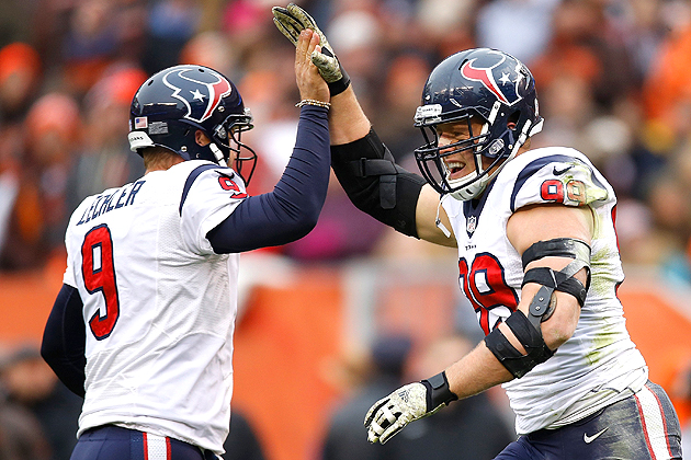 J.J. Watt celebrates his second touchdown catch of the season in Week 11 against the Browns.