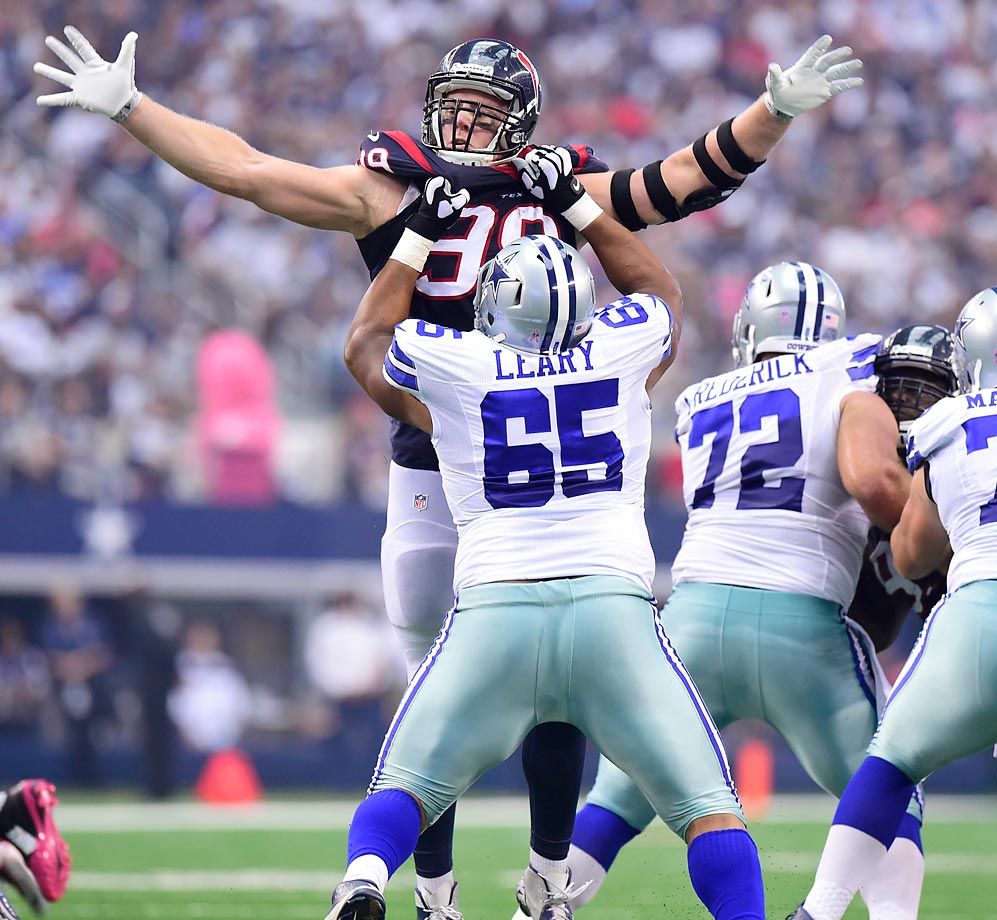 Cowboys offensive guard Ronald Leary holds off Texans defensive end J.J. Watt. The Cowboys won 20-17 in overtime.