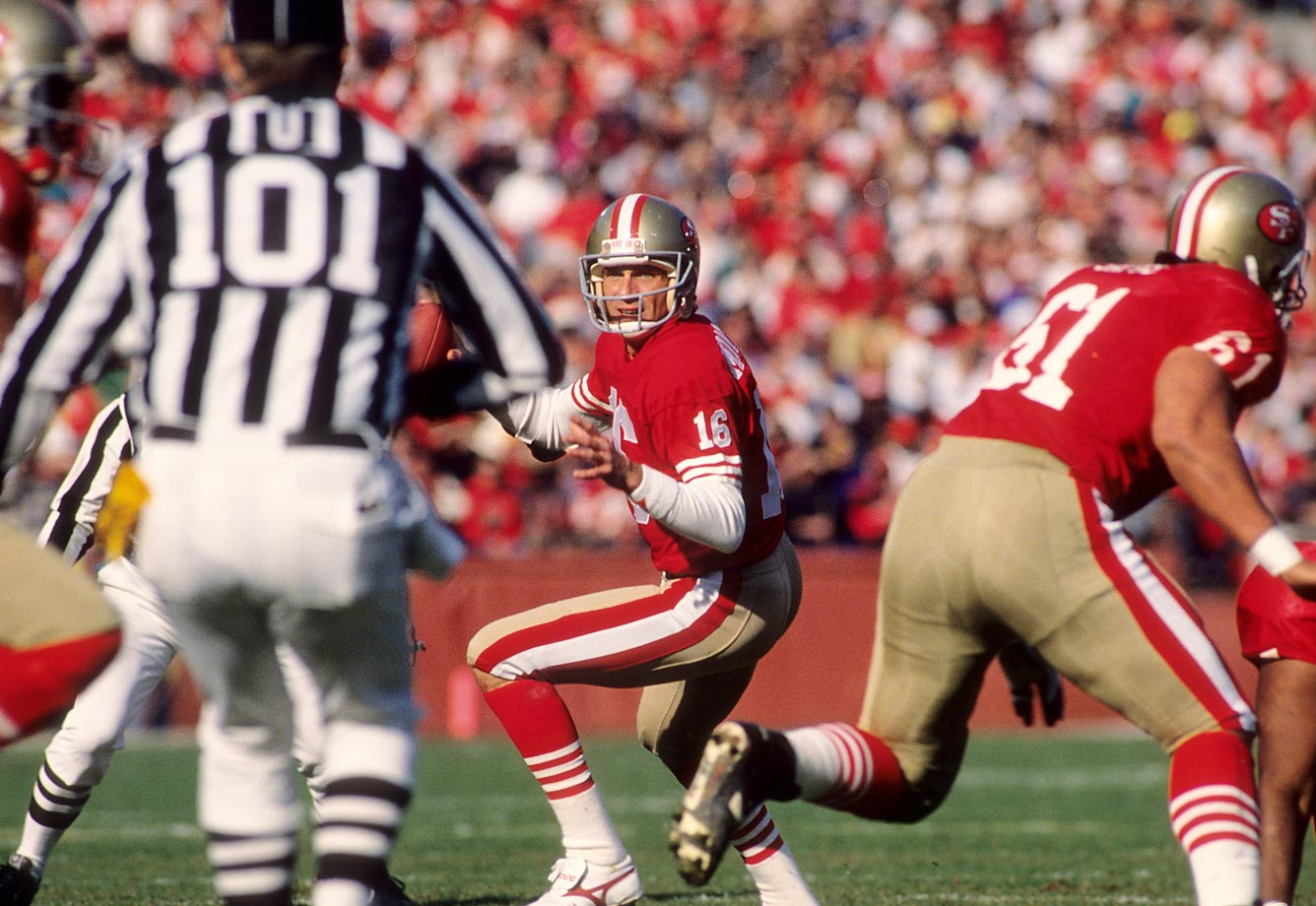 San Francisco 49ers quarterback Joe Montana scans the field during a January 1990 matchup with the Minnesota Vikings at Candlestick.