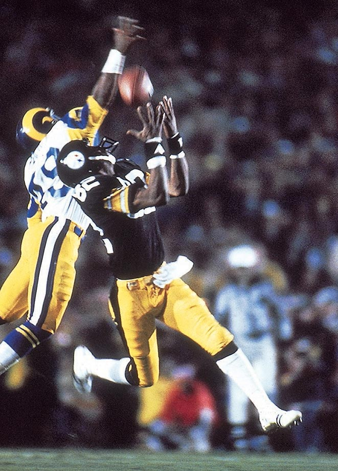 1979: John Stallworth's over-the-head grab on a 73-yard TD pass that gave the Steelers the lead for good in the fourth quarter of their Super Bowl XIV victory over the Rams.