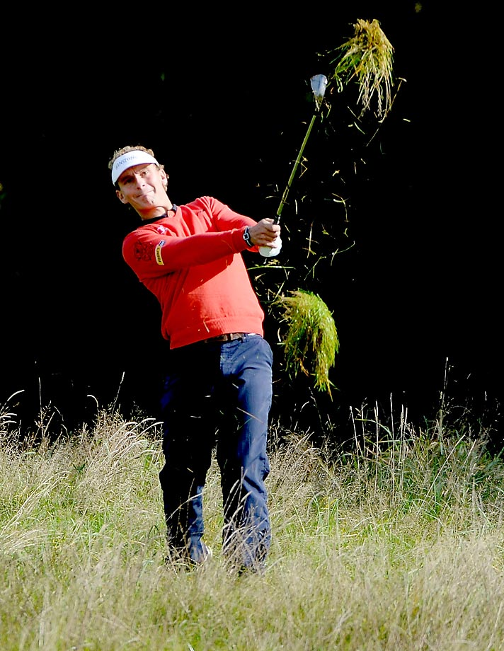 Joost Juiten kicks up some grass during the first round matches of the Volvo World Match Play Championship.