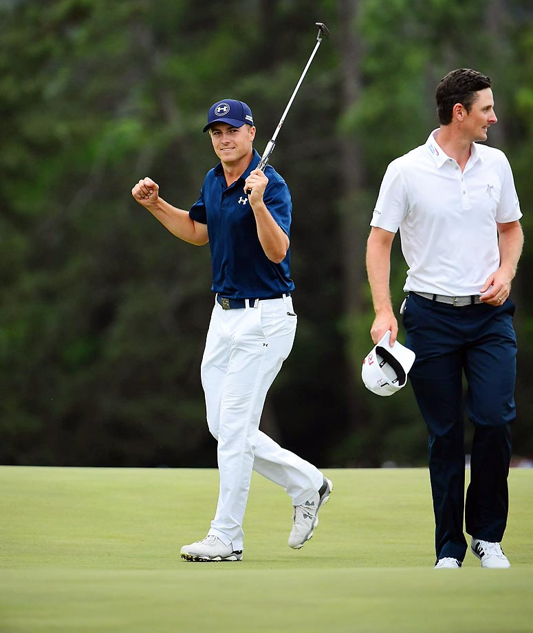 Jordan Spieth's dominant Masters performance evoked memory of another 21-year-old American at Augusta. Spieth, like Tiger Woods in 1997, won handily, finishing 18-under, four shots ahead of runners-up Phil Mickelson and Justin Rose. Spieth became the second-youngest Masters winner ever, after Woods, and his score tied Woods for best ever at the Masters.                                       (Text credit: Alex Putterman/SI.com)