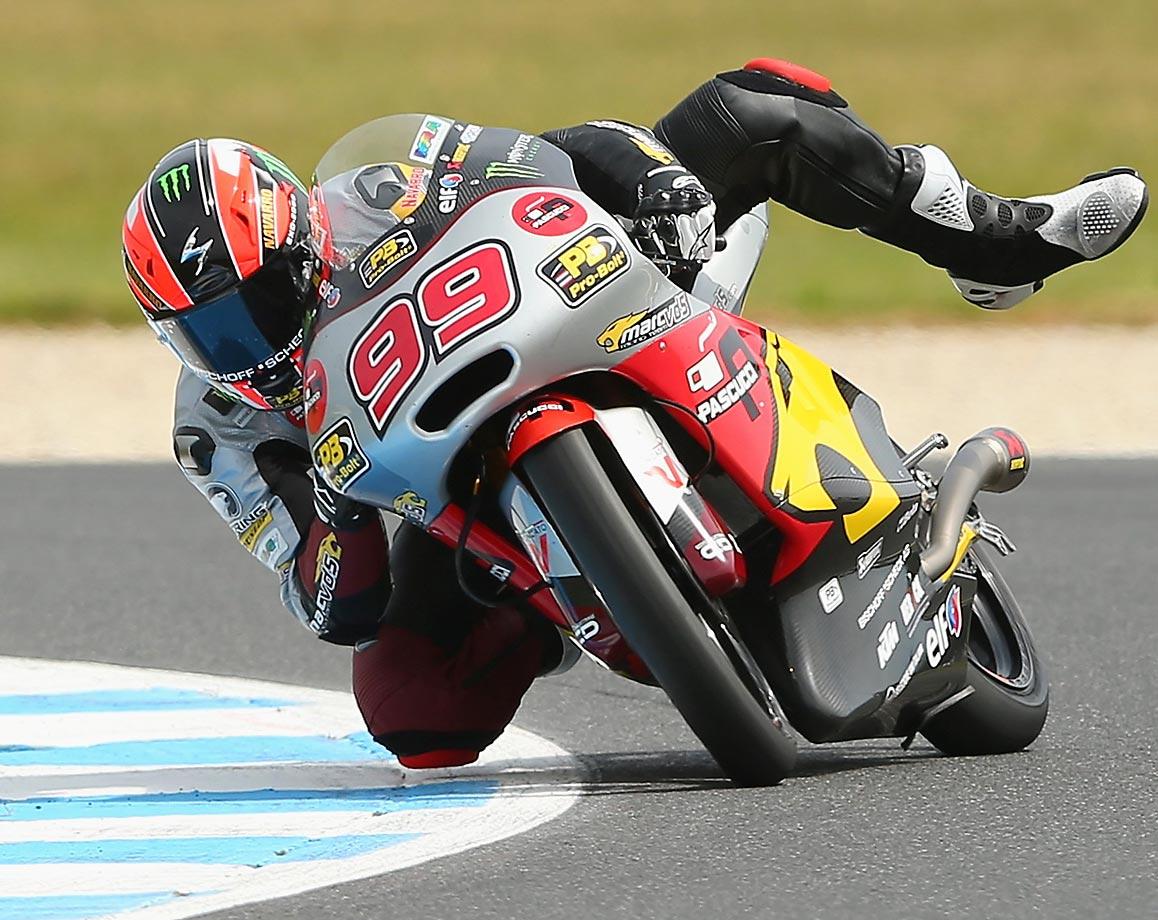 Jorge Navarro of Spain loses control during the Moto3 qualifying of the Australian MotoGP at Phillip Island Grand Prix Circuit.