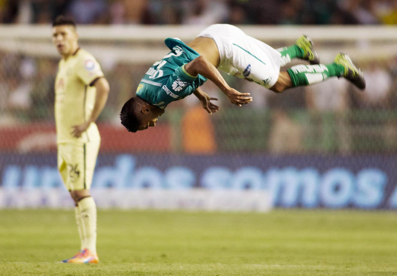 Jose Vazquez of Leon celebrates the second goal during a match between Leon and America.