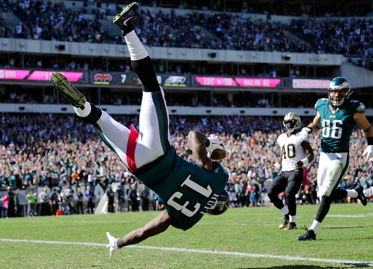 Josh Huff of the Eagles flips into the end zone against the Saints.