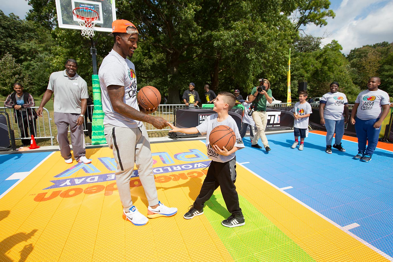 J.R. Smith of the New York Knicks participates during the Nickelodeon Worldwide Day of Play Basketball Clinic at Prospect Park, N.Y.