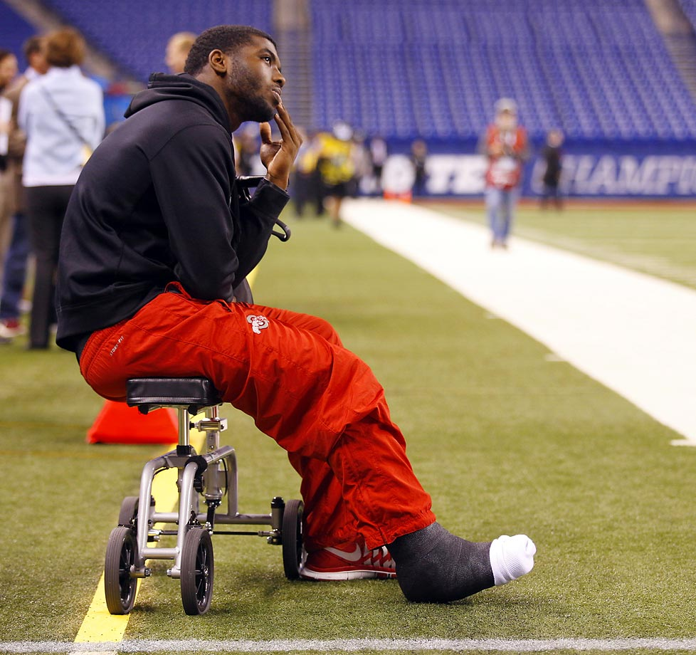 Ohio State Buckeyes quarterback J.T. Barrett on the sidelines with a broken ankle.