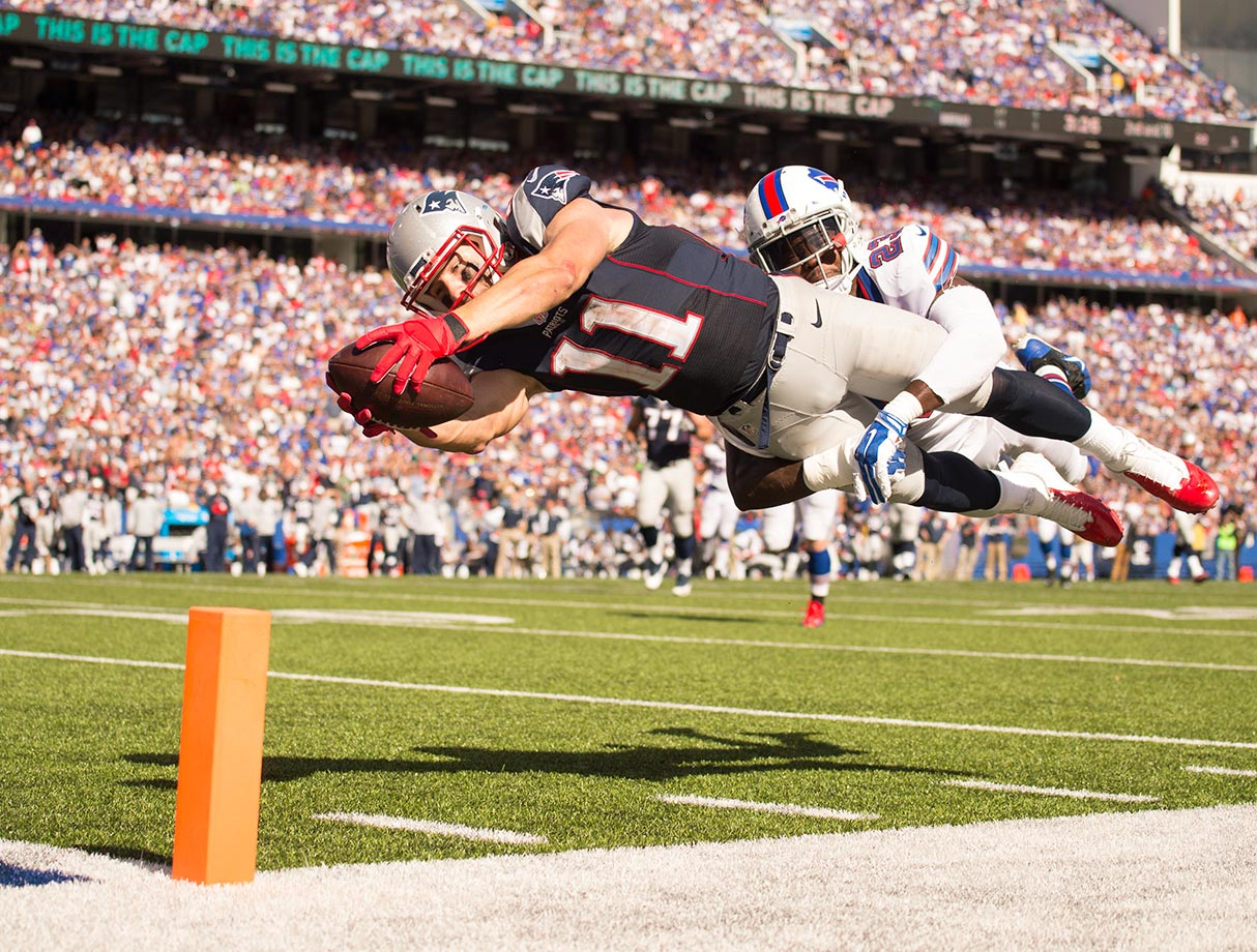 Julian Edelman stretches toward the endzone after making a reception against Buffalo.