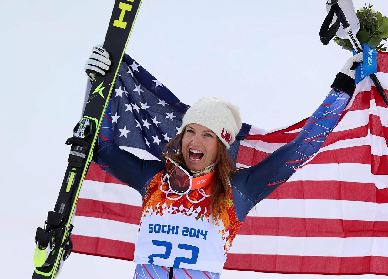 Bronze medalist Julia Mancuso of the United States celebrates after the flower ceremony in the super combined.