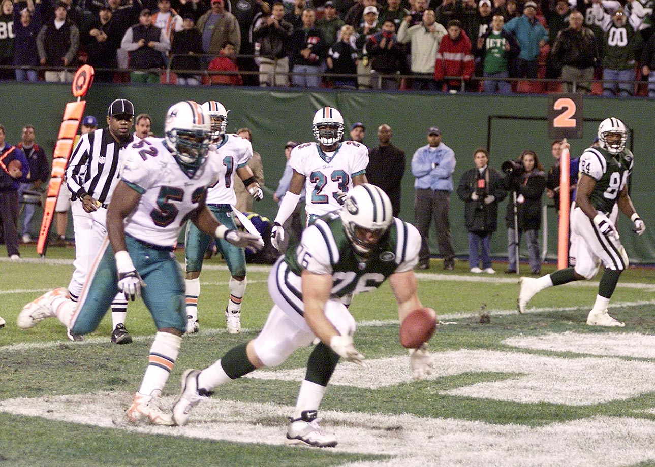 2000: Jumbo Elliott's tumbling, juggling 2-yard catch on a tackle-eligible play that helped the Jets tie Miami 37-37 in a game they trailed 30-7. The Jets won in overtime.