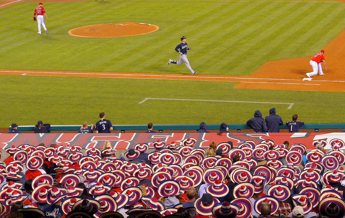 Angels fans wear sombreros on May 5, breaking a world record during a game against the Mariners.