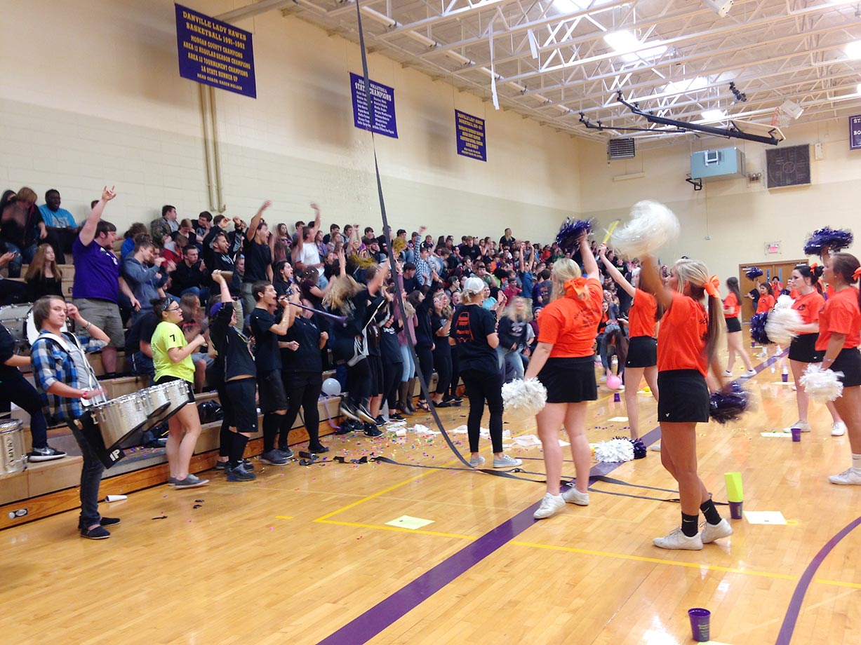 A pep rally in the Danville High gym got the crowd excited for the evening's football festivities.