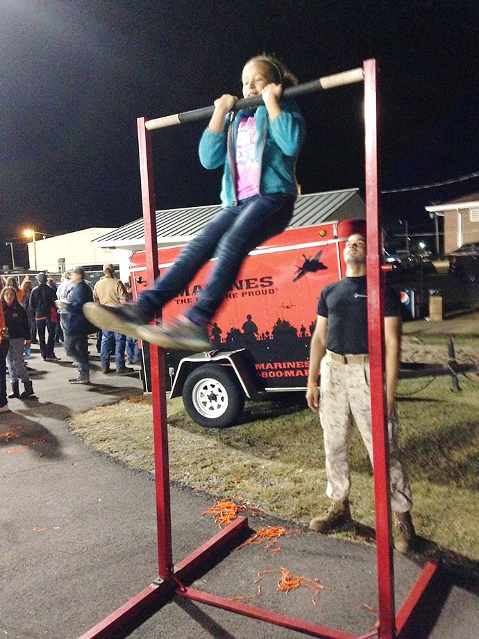 The U.S. Marine Corps held a pull-up bar contest throughout the evening's festivities.