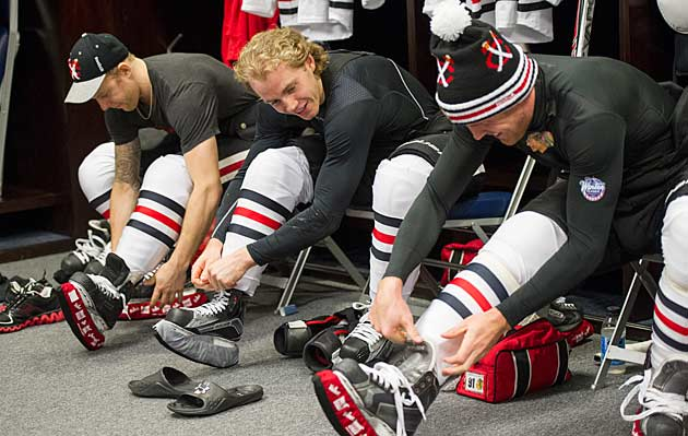 Patrick Kane (center) and Richards (right) are still a work in progress, but a promising one.