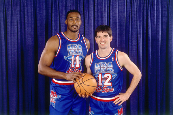 Malone and John Stockton pose for a photo before the 1992 All-Star Game. (AP Photo/Rich Pedroncelli)