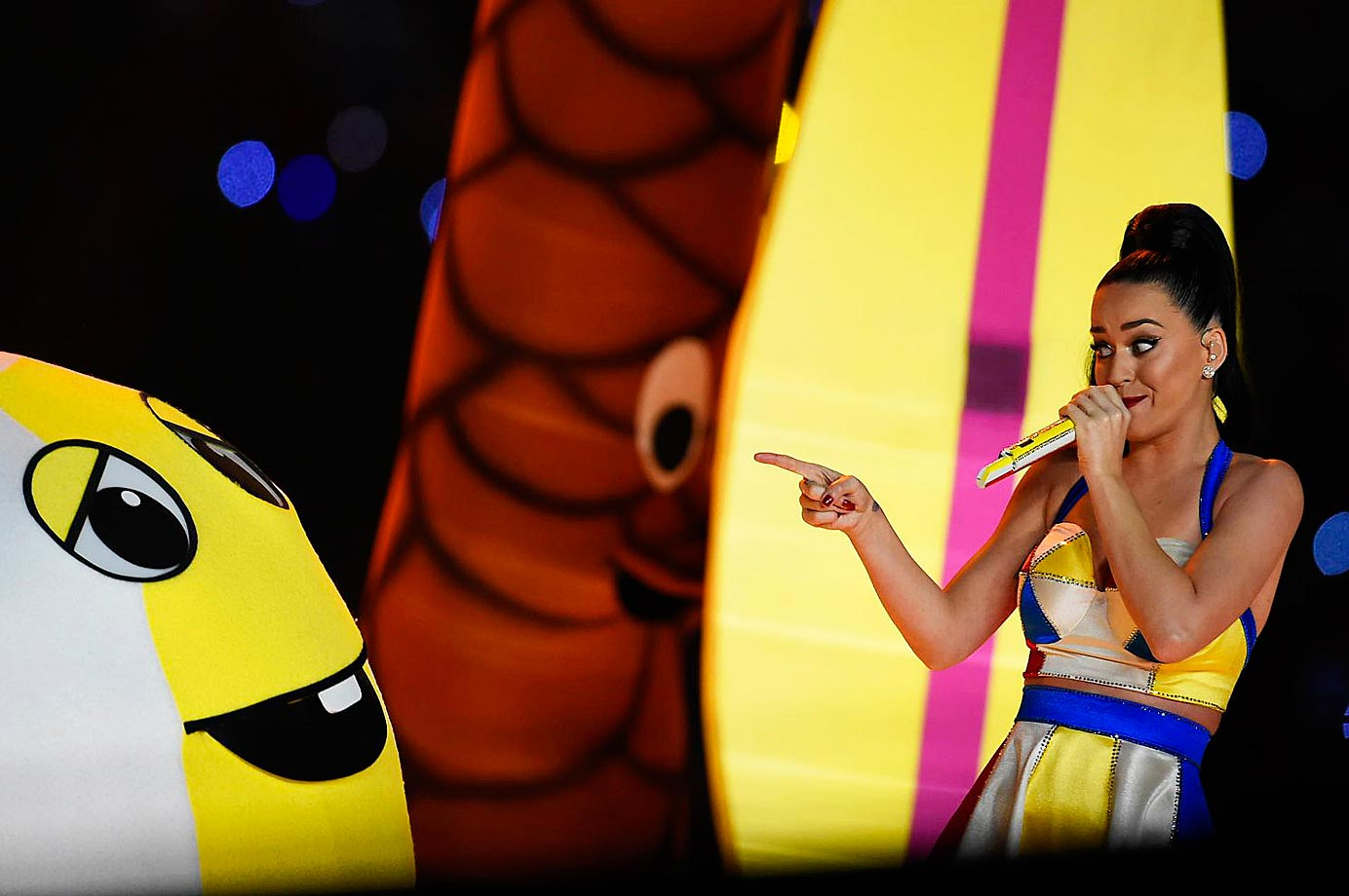 Katy Perry performs at the half time show at Super Bowl XLIX.