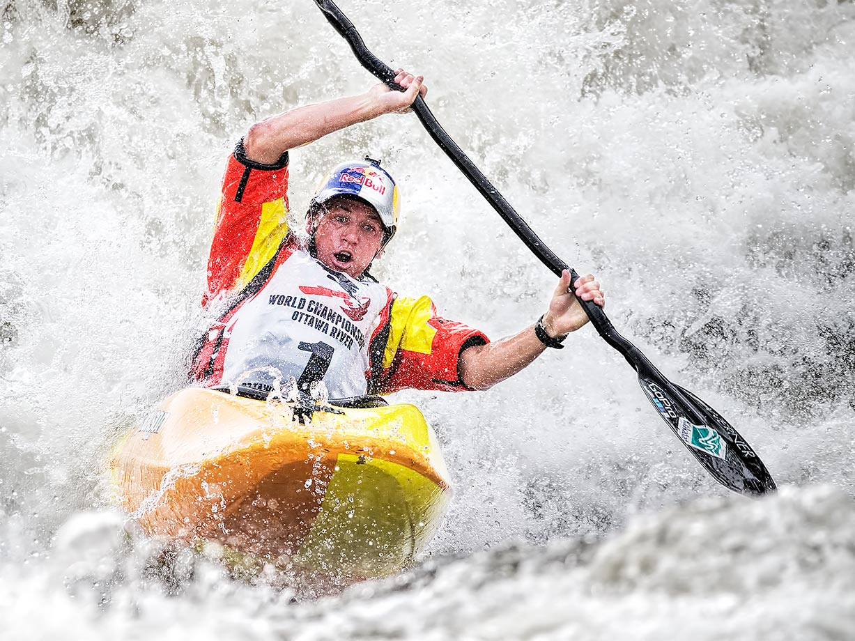 Dane Jackson of the U.S. wins his second consecutive world title in the K1.   He also won the C1 title the same day.