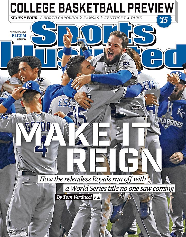 November 9, 2015 | After winning their first World Series title since 1985, the Kansas City Royals are featured on this week's cover of Sports Illustrated.