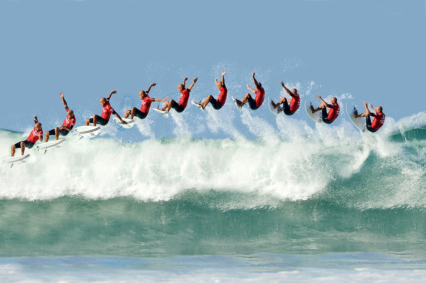 Multiple exposure of Kelly Slater at the Hurley Pro Trestles in California.
