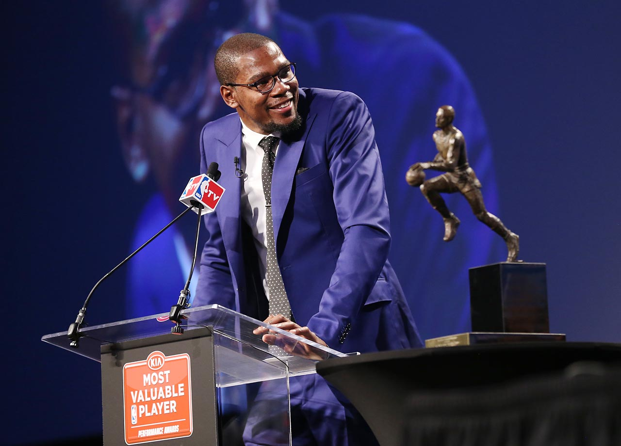 "After years of falling short to LeBron James, Kevin Durant finally won his first MVP award. In light of all his achievements, the most important part of his acceptance speech came at the end, when he turned to his mother and said ""You are the real MVP""."