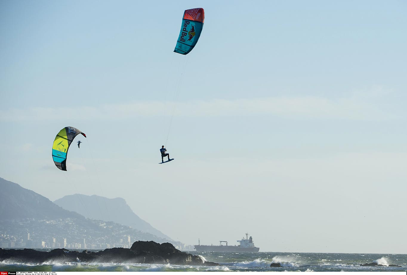 Aaron Hadlow performs during the opening day of Red Bull King Of The Air that took place at Big Bay, Cape Town, South Africa.