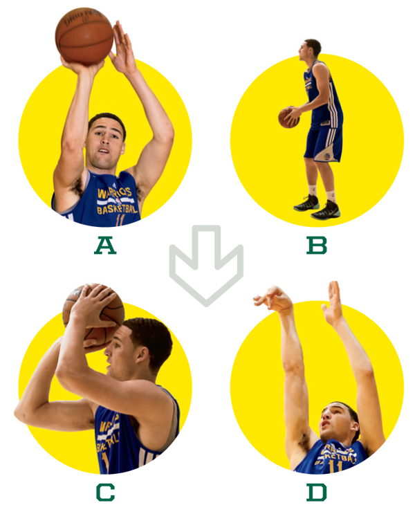 Figure 1. With a classic shooting style, Thompson ensures he's giving himself the best chance to shoot with a high percentage. He maintains an almost perfect form, elbow in, toes pointing toward the basket, ball released from forehead height, just to the right of the temple.