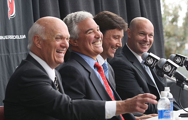 (Left to right) Devils GM Lou Lamoriello, owner Jeff Vanderbeek, Ilya Kovalchuk and coach John MacLean at the press conference announcing the big contract.