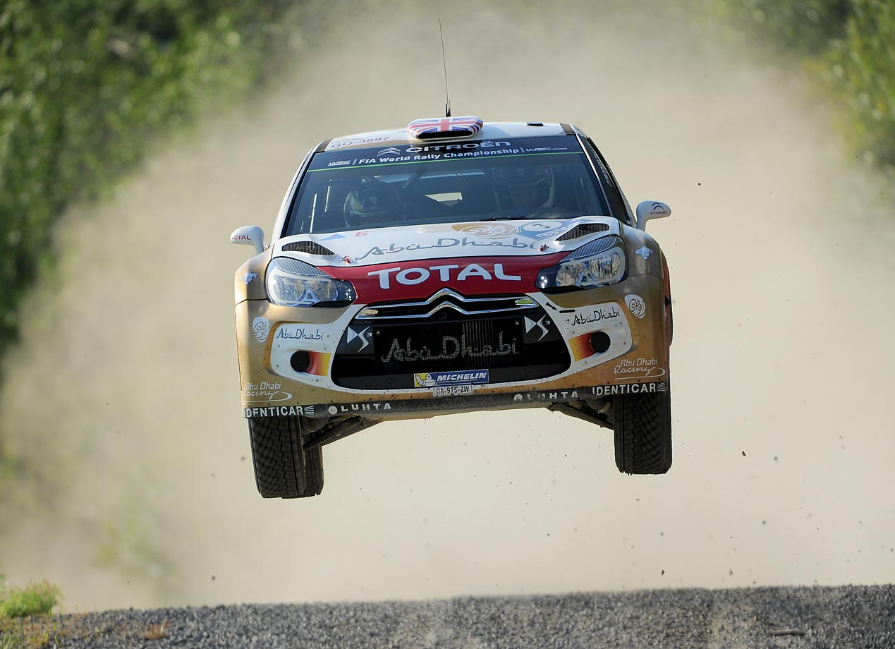 Kris Meeke and Paul Nagle of Great Britain get some serious air as they compete in the Citroen Total Abu Dhabi WRT Citroen DS3 WRC during Day One of the WRC Finland on August 1, 2014 in Jyvaskyla, Finland.