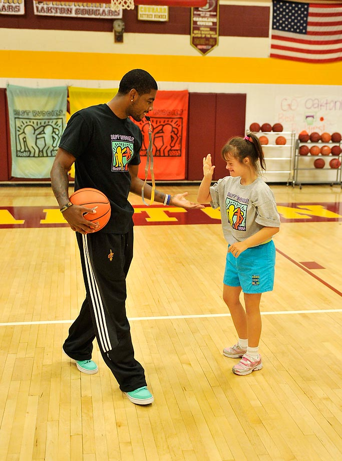 Kyrie Irving hosts a basketball clinic at Oakton High to kick off the 2013 Audi Best Buddies Challenge in Washington, D.C.