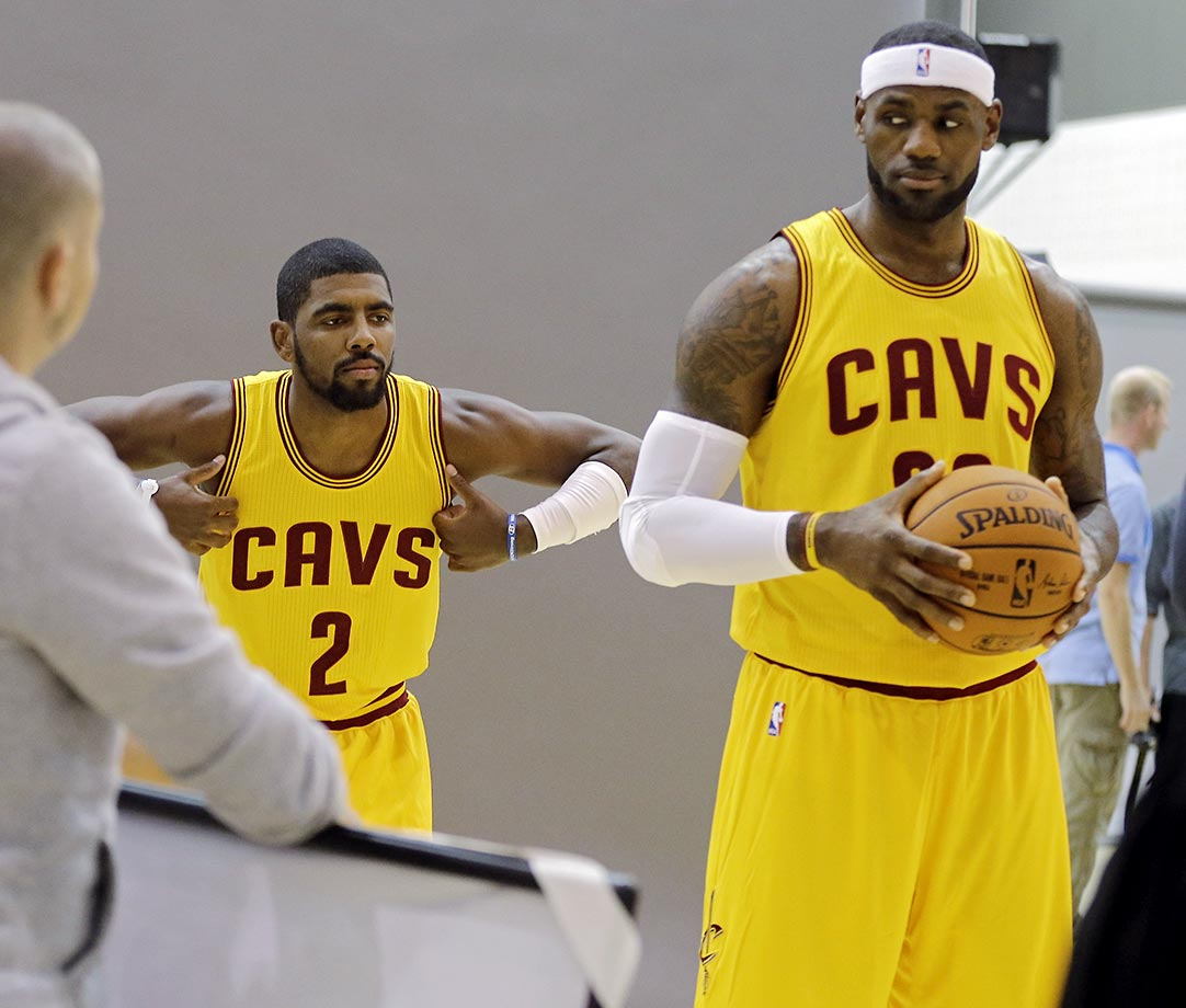 Kyrie Irving of the Cleveland Cavaliers photobombs LeBron James.