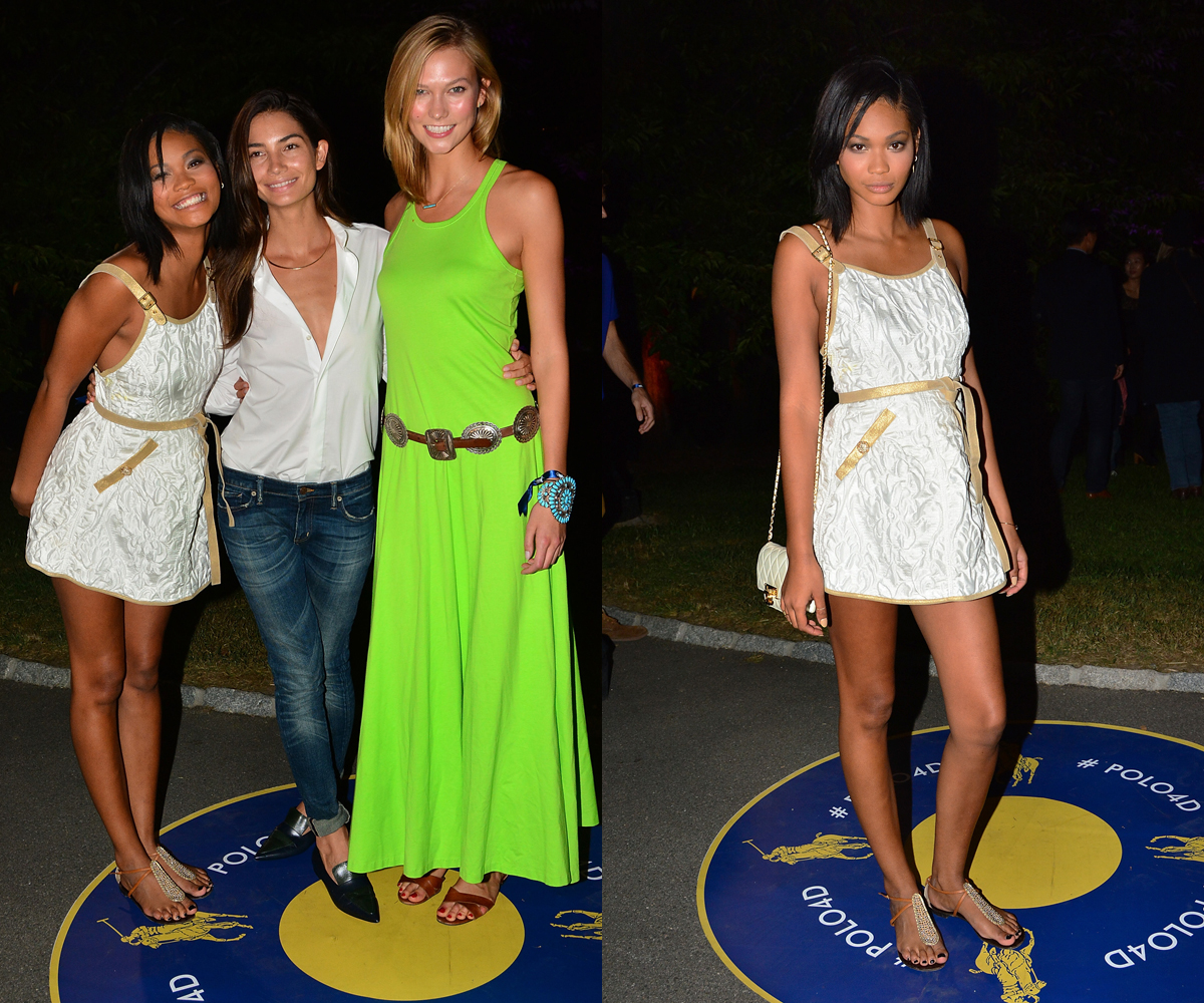 Chanel Iman and Lily Aldridge with Karlie Kloss at Polo Ralph Lauren
