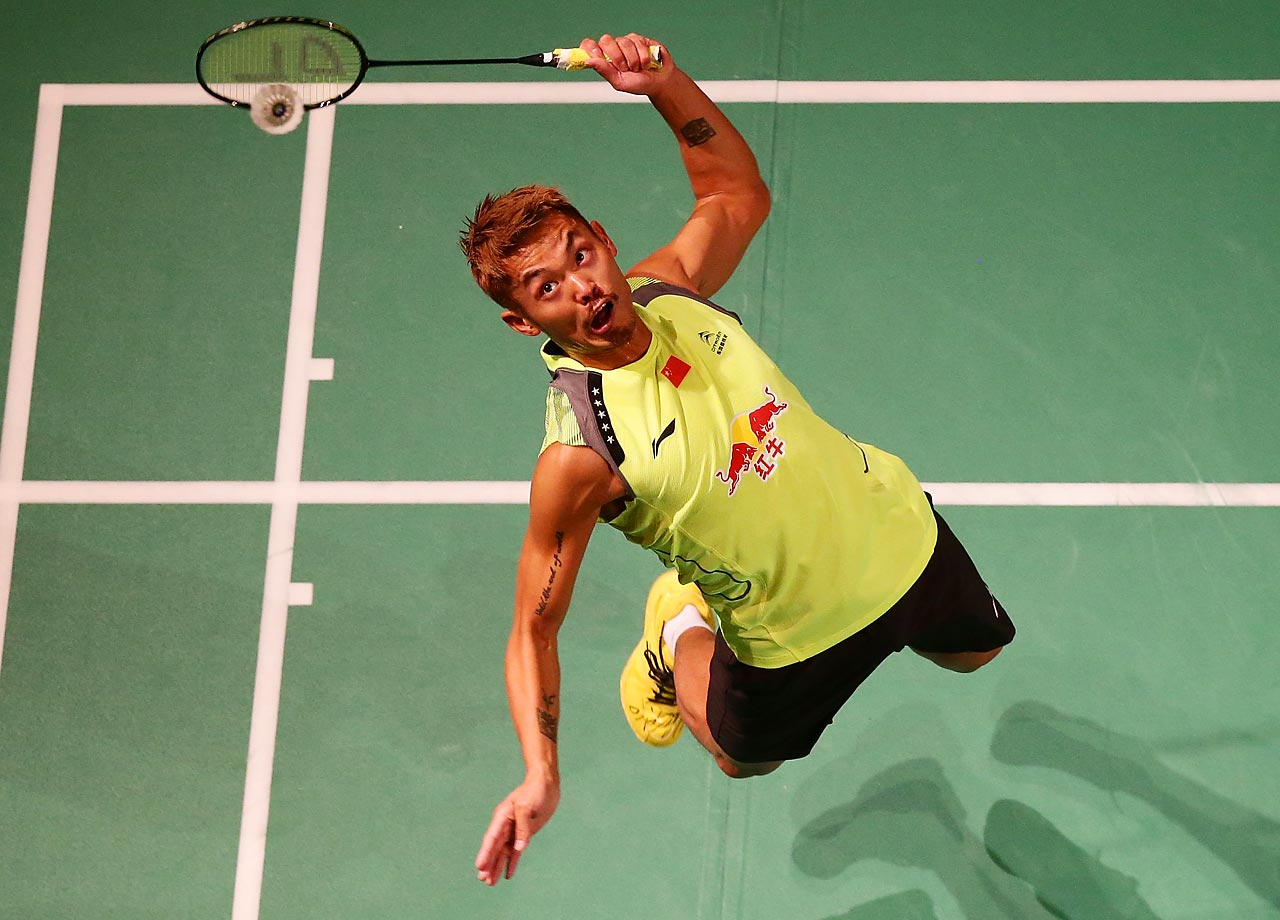 China's Lin Dan jumps to hit the birdie in his match against Indonesia's Simon Santoso in the mens singles final at the Australian Badminton Open at Sydney Olympic Park Sports Centre in Sydney, Australia.