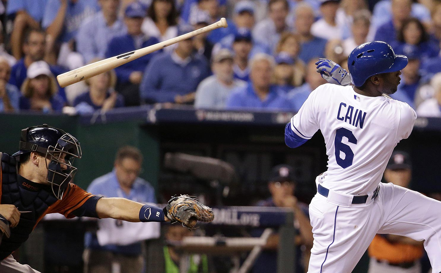 Lorenzo Cain of the Royals loses his bat on a strike against the Astros.