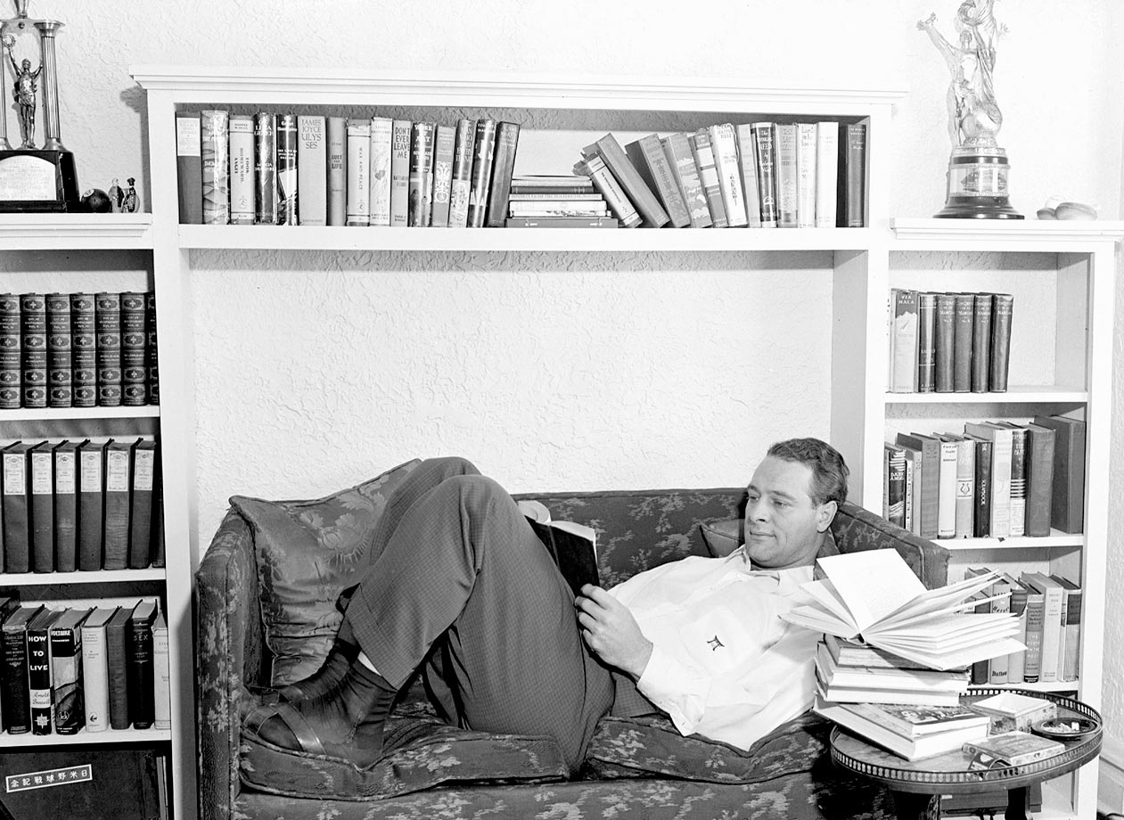 Lou Gehrig reclines at home in the midst of a salary dispute.
