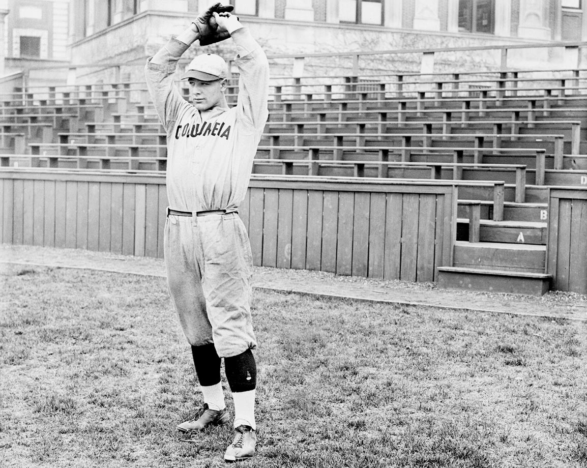 Lou Gehrig pitched and played first base for the Columbia Nine in 1923. Yankees scout Paul Krichell was impressed with Gehrig's hitting and signed him to the Yankees.
