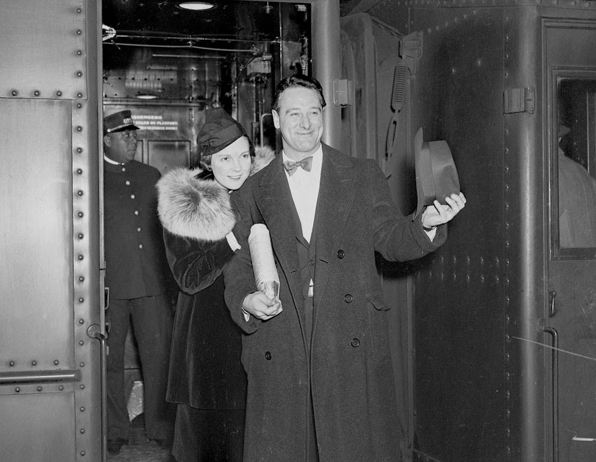 After agreeing to terms with the Yankees, Lou Gehrig and his wife depart for training camp in St. Petersburg in March 1937.