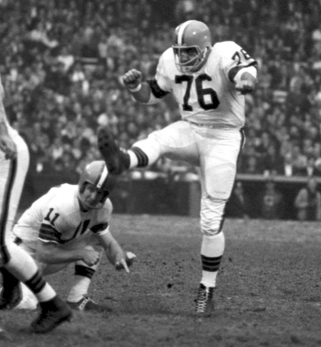 The NFL banned the use of any artificial aids to assist in a kick in 1956. Lou Groza would use a 72-inch piece of tape to line up his kicks toward the center of the goalposts.