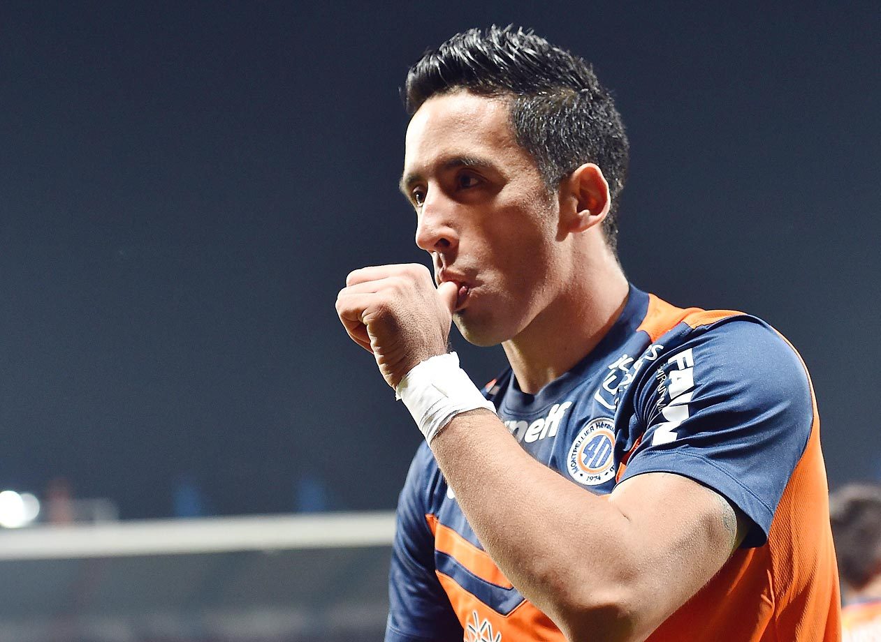 Montpellier's Argentine forward Lucas Barrios after scoring a goal during the French L1 football match between Montpellier and Lyon.