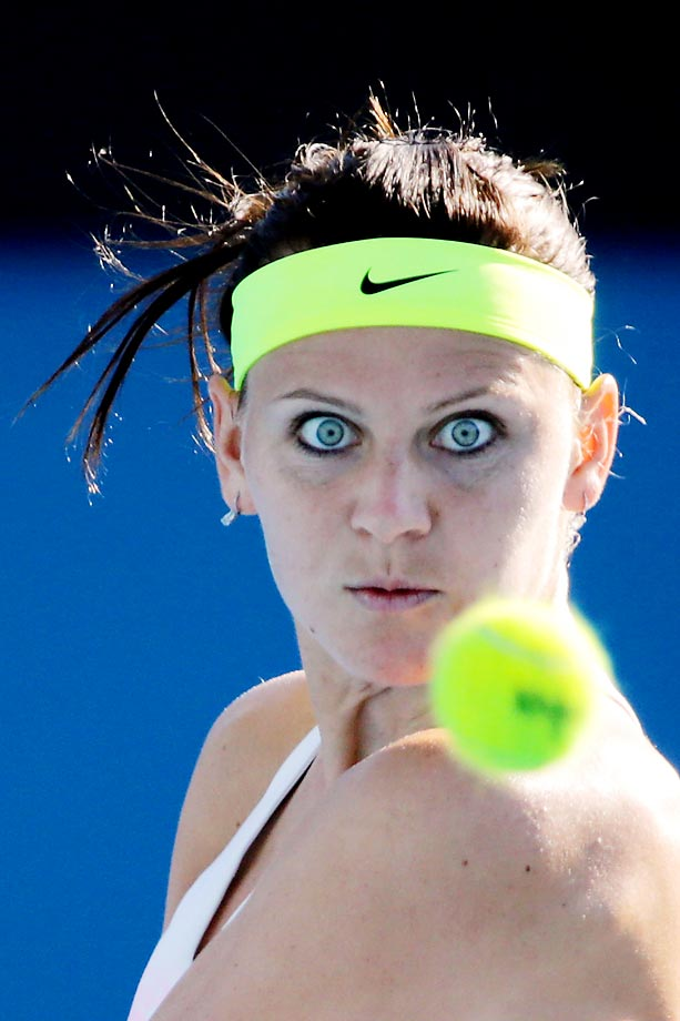 Lucie Safarova of the Czech Republic plays a backhand in her first-round match against Yaroslava Shvedova at the Australian Open.